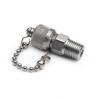 """1/4"""" male NPT x male Quick-test, no check-valve, with cap and chain, S.S. -- QTFT-2MS0 -- View Larger Image"""