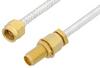 2.92mm Male to 2.92mm Female Bulkhead Cable 18 Inch Length Using PE-SR402FL Coax, RoHS -- PE34745LF-18 -Image