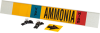 Brady B-681, B-883 Black / Blue / Red / White on Yellow Polyester Strap-On Pipe Marker - 3 1/2 in Character Height - Printed Msg = AMMONIA - 59940 -- 754476-59940 - Image