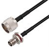 N Male to TNC Female Bulkhead Cable Assembly using RG58 Coax, 3 FT -- LCCA30682-FT3 -Image