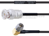 BNC Male to RA SMA Male MIL-DTL-17 Cable M17/119-RG174 Coax in 18 Inch -- FMHR0102-18 -Image