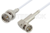 75 Ohm BNC Male to 75 Ohm BNC Male Right Angle Cable 60 Inch Length Using 75 Ohm RG187 Coax -- PE33414-60 -Image