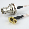 RA SMC Plug (Male) to BNC Female (Jack) Bulkhead Cable RG316 Coax Up To 3 GHz in 48 Inch -- FMC2838315-48 -Image