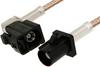 Black FAKRA Plug to FAKRA Jack Right Angle Cable 12 Inch Length Using RG316 Coax -- PE38757A-12 -Image