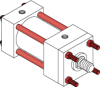 Series A Pneumatic Cylinder - Model A12 NFPA Style MX3 -- Tie-Rods Extended Rod End