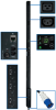 3-Phase Monitored PDU, 8.6 KW, 36 208V Outlets (30 C13, 6 C19), 3-ft. IEC-309 Blue 30A Input, 0U Vertical Mount -- PDU3VN3G30