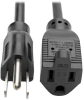 Power Extension Cord, NEMA 5-15P to NEMA 5-15R - 10A, 120V, 18 AWG, 6 ft., Black -- P022-006