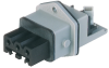 Rectangular Receptacle Power Connector (ST Series): Female, front mount with flange, 3-pin+PE, grey housing, 400 V AC / 230 V DC, 16 A AC/10 A DC -- STAKEI 3 N - Image