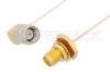 SMA Male Right Angle to SMA Female Bulkhead Cable 36 Inch Length Using PE-020SR Coax -- PE34309-36 -Image