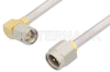 SMA Male to SMA Male Right Angle Cable 24 Inch Length Using PE-SR402AL Coax -- PE34195-24 -Image