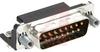 CONNECTOR, PLUG, HD-20, 15 POSITION, PCB, RIGHT ANGLE, 318 (SL,FM,BL) -- 70085523 - Image