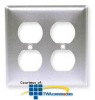 Hubbell 2-Gang Duplex Satin Stainless WallPlate -- SS82 - Image