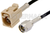 SMA Male to Beige FAKRA Jack Cable 24 Inch Length Using RG174 Coax -- PE39199I-24 -Image