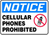 Notice Cellular Phones Prohibited Sign -- SGN909