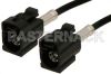 Black FAKRA Jack to FAKRA Jack Cable 12 Inch Length Using RG174 Coax -- PE38750A-12 -Image