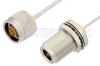 N Male to N Female Bulkhead Cable 6 Inch Length Using PE-SR405AL Coax -- PE34161LF-6 -Image