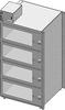 Standard Welded Stainless Steel 4 Door Single Tier Desiccator (a.k.a. Desiccator Cabinet, Dry Box, Dry Storage Cabinet, or Low-Humidity Storage Cabinet) -- CAP19S-SST-4DR-SGL-24Wx10Hx24D-3B
