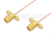 SMA Female 2 Hole Flange to SMA Female 2 Hole Flange Cable 12 Inch Length Using PE-047SR Coax -- PE35064-12 -Image