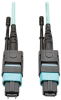 MTP/MPO Multimode Patch Cable, 12 Fiber, 40 GbE, 40 GBASE-SR4, OM3 Plenum-Rated (M/F), Aqua, 5 m (16 ft.) -- N842-05M-12-MF