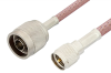 N Male to Mini UHF Male Cable 12 Inch Length Using RG142 Coax, RoHS -- PE3285LF-12 -- View Larger Image