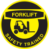 Brady B-946 Black on Yellow Circle Vinyl Hard Hat Label - Printed Text = FORKLIFT SAFETY TRAINED - 42243 -- 754476-42243