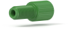 "Flangeless Male Nut Delrin®, 1/4-28 Flat-Bottom, for 1/16"" OD, Green -- P-205 -Image"