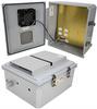 14x12x06 Polycarb Weatherproof NEMA 3R Encl, 120VAC Mount Plate Mech Therm 85°F Turn on Fan Dark Gry -- NBPC141206-10F-1 -- View Larger Image