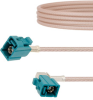 Water Blue FAKRA Jack to FAKRA Jack Right Angle Cable 24 Inch Length Using RG316 Coax -- FMCA1340Z-24 -Image