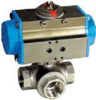 "STAINLESS STEEL-3WAY DOUBLE ACTING PNEUMATIC ACTUATOR, 2"" NPTF BALL VALVE - TFLOW PATH -- S3TD10-0-0"