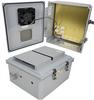 14x12x06 Polycarb Weatherproof NEMA 3R Encl, 120VAC Mount Plate Mech Thermostat Heat & Fan Dark Gray -- NBPC141206-1HF