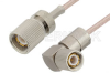 75 Ohm 1.6/5.6 Plug to 75 Ohm 1.6/5.6 Plug Right Angle Cable 24 Inch Length Using 75 Ohm RG179 Coax, RoHS -- PE36117LF-24 -Image