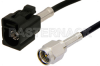 SMA Male to Black FAKRA Jack Cable 12 Inch Length Using RG174 Coax -- PE39199A-12 -- View Larger Image