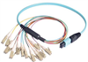 MPO Male to 12x LC Fan-out, 12 Fiber Ribbon, OM3 10G 50/125 Multimode, OFNR Jacket, Aqua, 5.0m -- MPM12OM3-LC-5 - Image