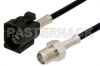 SMA Female to Black FAKRA Jack Cable 48 Inch Length Using PE-C100-LSZH Coax -- PE39349A-48 -Image