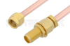 2.92mm Male to 2.92mm Female Bulkhead Cable 18 Inch Length Using RG402 Coax, RoHS -- PE34741LF-18 -Image