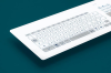 Capacitive Panel Mount Keyboard With A Glass Surface, Numeric Keypad And Integrated Touch-pad -- TKR-103-TOUCH-ADH©-USB