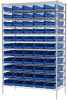 Akro-Mils 2000 lb Adjustable Blue Chrome Steel Open Adjustable Fixed Shelving System - 60 Bins - 2000 lb Total Capacity - AWS244830184 BLUE -- AWS244830184 BLUE - Image