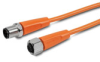 PATCH CABLE 0.6m (1.97ft) M12 AXIAL FEMALE/AXIAL MALE 4-POLE PVC IP69K ORG -- EVT227 - Image