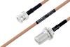 MIL-DTL-17 BNC Male to N Female Bulkhead Cable 60 Inch Length Using M17/128-RG400 Coax -- PE3M0060-60 -Image