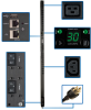 5/5.8kW Single-Phase Switched PDU with LX Platform Interface, 208/240V Outlets (20 C13 & 4 C19), L6-30P, 0U, TAA -- PDUMV30HVNETLX