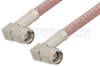 SMA Male Right Angle to SMA Male Right Angle Cable 12 Inch Length Using RG142 Coax, RoHS -- PE3514LF-12 -Image