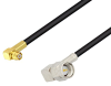 Push-On SMP Female Right Angle to SMA Male Right Angle Cable 150 cm Length Using LMR-100 Coax with HeatShrink -- PE3W05693/HS-150CM -Image