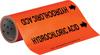 Brady B-946 Black on Orange Vinyl Self-Adhesive Pipe Marker - 12 in Height - 30 ft Length - Printed Msg = HYDROCHLORIC ACID with Left Arrow - 109309 -- 754473-67541