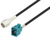 SMA Male to Water Blue FAKRA Jack Cable 48 Inch Length Using LMR-100 Coax , LF Solder -- PE3C2597LF-48 -Image