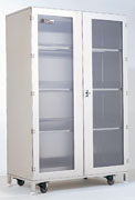 Fully enclosed, locking cabinets are ideal for wafer lot boxes and other particle-sensitive materials