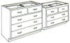 Standard Steel Laboratory Cabinet, (2) Drawers & (_) Wide Drawers -- 050 Series