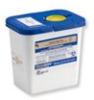 Disposable Pharmaceutical Waste Disposal Container with Absorbent Pad, White with Blue Lid -- 12617 - Image