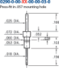 Double Tail Header Pin -- 0290-0-00-01-00-00-03-0 - Image