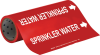 Brady B-946 White on Red Vinyl Self-Adhesive Pipe Marker - 12 in Height - 30 ft Length - Printed Msg = SPRINKLER WATER with Left Arrow - 15593 -- 754476-15593 - Image