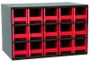 Akro-Mils 19 Gray Powder Coated Steel 24 ga Stackable Heavy Duty Versatile Cabinet - 11 in Overall Length - 17 in Width - 11 in Height - 15 Drawer - Non-Lockable - 19715 RED -- 19715 RED - Image
